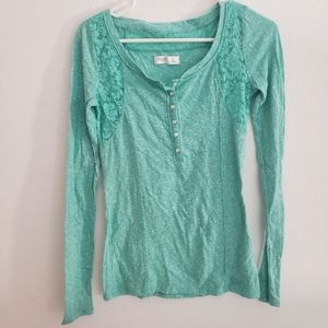 3/$23Gilly Hicks Lace Long Sleeve Green Blue Shirt